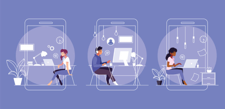 Illustration of three professionals working remotely sitting at their desks typing on their laptop